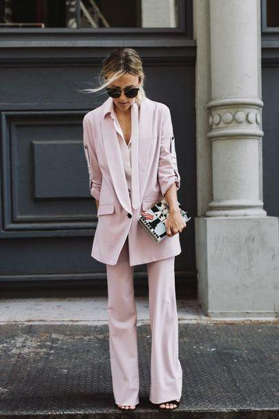 pants pants neutral neutral colors pink blazer bag sunglasses sandals