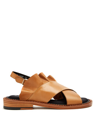 ruffle sandals leather sandals leather tan shoes