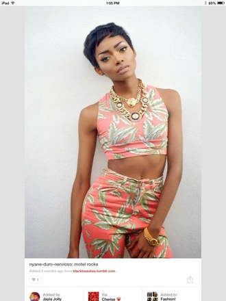 pants two-piece black girls killin it hot chain gold tribal print top short hair pink