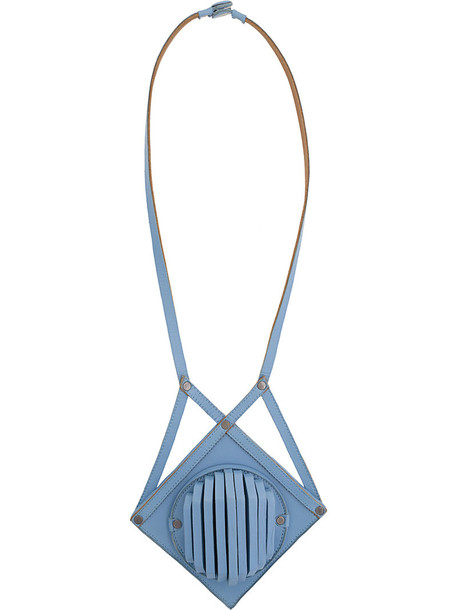 Papieta women geometric necklace leather blue jewels
