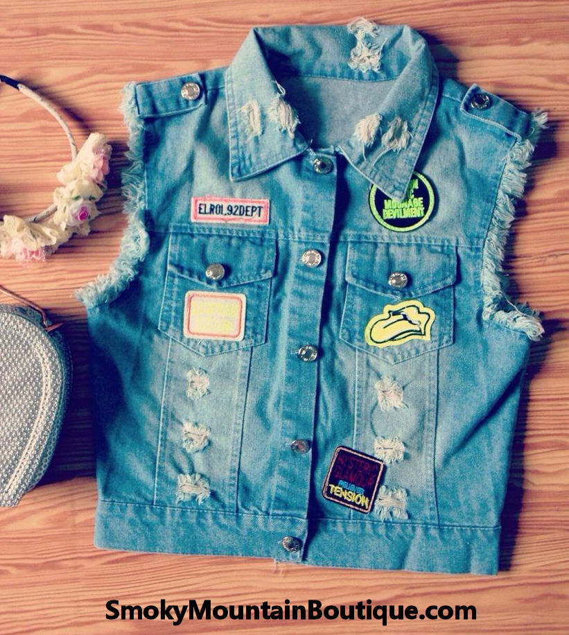 Cute (blue jean) denim vest with patches