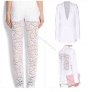 pants,white,givenchy style,givenchy,lace,jacket,highend,designer