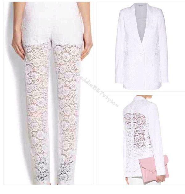 pants white givenchy style givenchy lace jacket highend designer