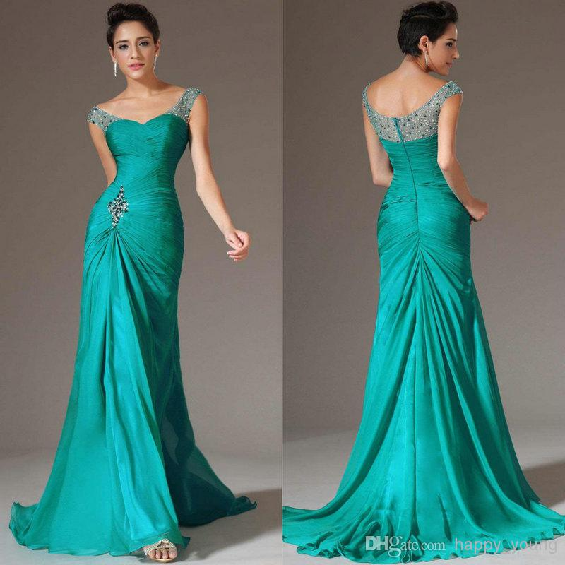 Discount 2014 Best Selling Mermaid V-neck \Turquoise Chiffon Cap Sleeve Prom Dresses Beaded Pleats Discount Prom Gowns Formal Dresses Online with $114.26/Piece | DHgate