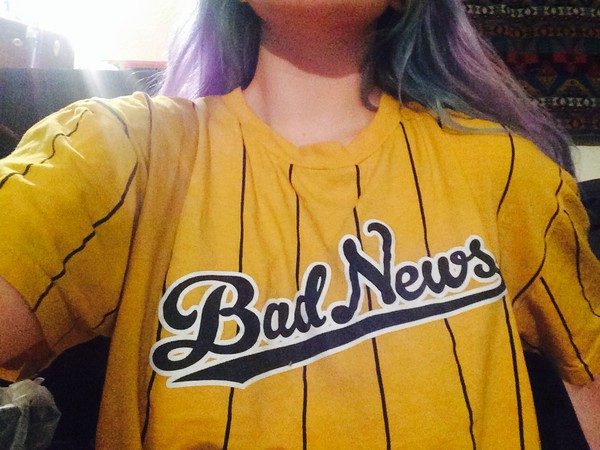 baseball bad news clothes swag yellow diamond supply co. colored hair striped top dope clothes basketball