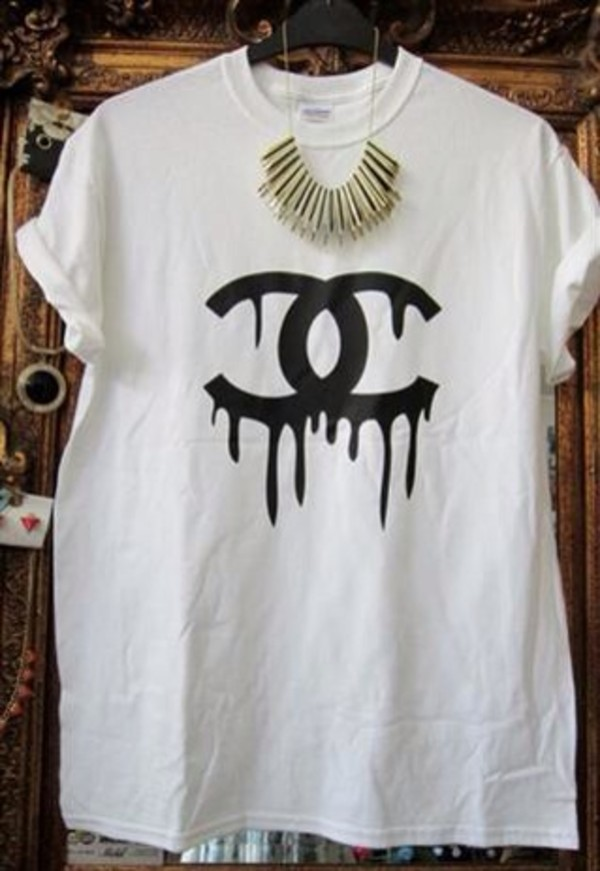 t-shirt chanel melting drippingchanel t-shirt