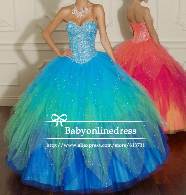 Aliexpress.com : buy custom made 2014 new sweetheart crystal beaded tulle blue orange quinceanera dresses ball gowns lace up back with jacket from reliable gowns online suppliers on suzhou babyonline dress store