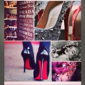 shoes,crystal,black high heels,pumps,heels,hight heels,red sole,shiny,sparkle