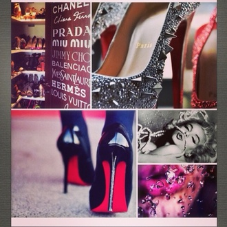 shoes crystal black high heels pumps heels hight heels red sole shiny sparkle