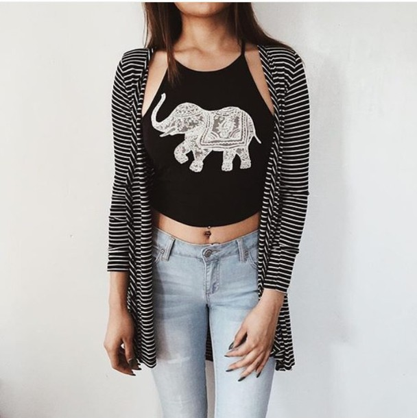 Tank Top Elephant Black Crop Tops Shirt Jeans Pants