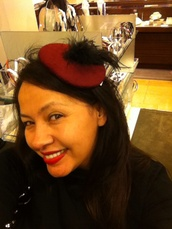 hat,burgundy,feathers,nordstrom,bows,bad hair day hat,fall trend,w ???,red