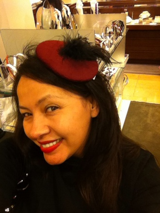 hat maroon feather hair nordstrom bows cute fun bad hair day hat fall trend w ??? red