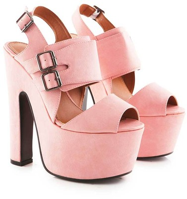 Dorine pu chunky wedge shoe with buckles in pink
