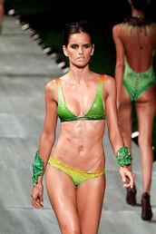 swimwear,lenny swimwear,bikini,green,neon,neon yellow,back,open back,yellow swimwear,green swimwear