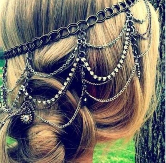 hair bow hair accessories chain diamonds prom dress help findit silver gold
