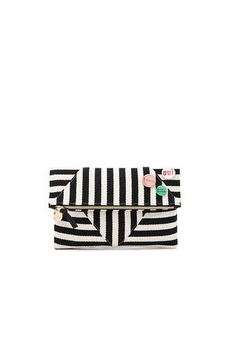 patchwork clutch white black bag