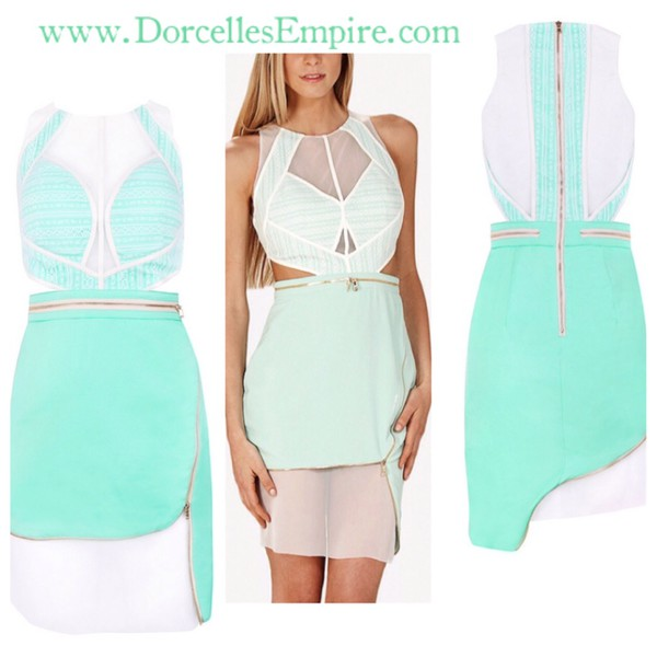 mint mint dress fashion vogue bandage dress dress style tryzub chyna blac
