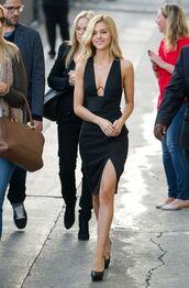 dress,nicola peltz,celebrity style,celebrity,black dress,slit dress,sexy dress,pumps,pointed toe pumps,plunge v neck