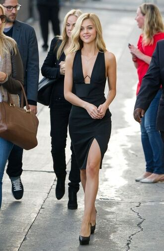 dress nicola peltz celebrity style celebrity black dress slit dress sexy dress pumps pointed toe pumps plunge v neck