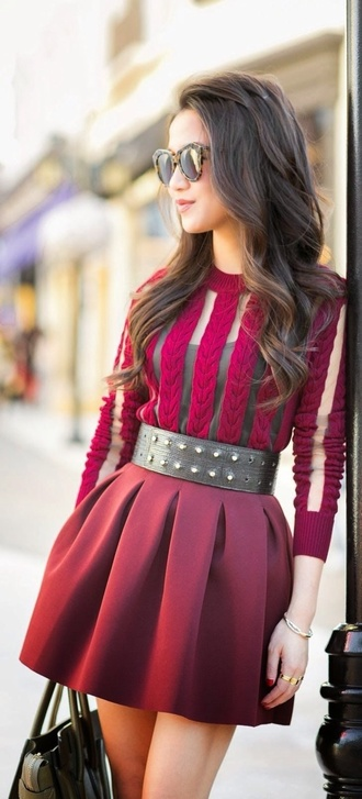 skirt studded belt burgundy skirt burgundy top belt velvet top blouse chic and edgy casual medium-size belt