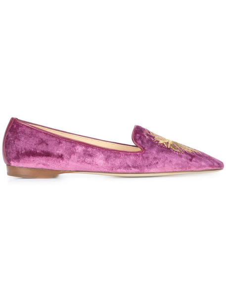 Emma Hope Shoes embroidered women leather velvet purple pink shoes