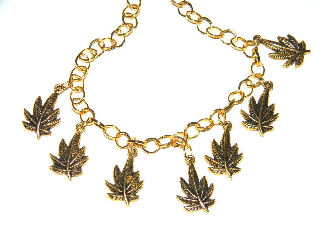 Marijuana bracelet & gold tone chain big kush pot leaf charms cannibis 5