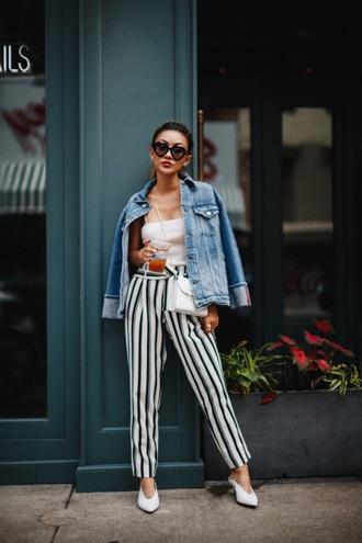 pants striped pants top stripes wide-leg pants white top jacket denim jacket spring outfits