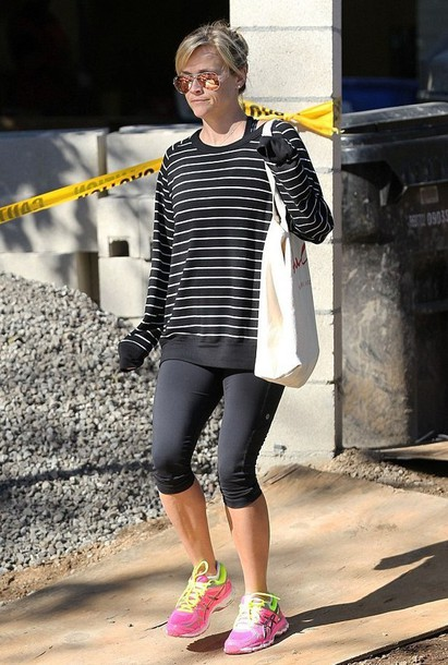 running shoes reese witherspoon leggings sunglasses rayban striped sweater shoes