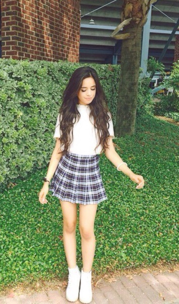 blouse Fifth Harmony cardigan fashion white white blouse crop tops music celebrity style skirt