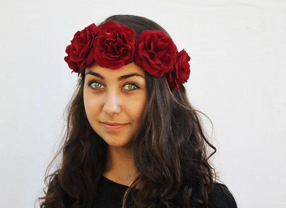 Garnet Red Rose Crown  Flower Crown Rose by BloomDesignStudio