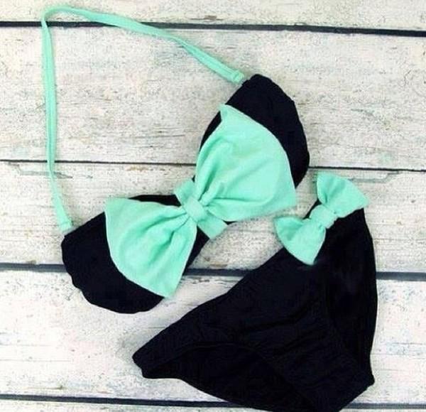 swimwear light blue black bikini black bikini bow cute mint