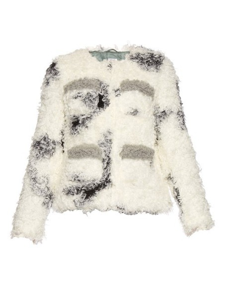 Shrimps jacket shearling jacket white black