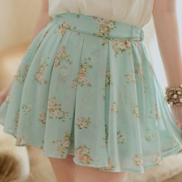 Skirt Vintage Pastel Retro Flowy Cute Pretty Floral Flowers Green Light White Pink ...