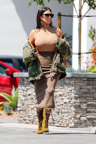 jacket top camouflage camo jacket bomber jacket boots skirt kim kardashian bodysuit camouflage military jacket midi skirt pencil skirt nude skirt nude top turtleneck sleeveless sunglasses celebrity style celebrity