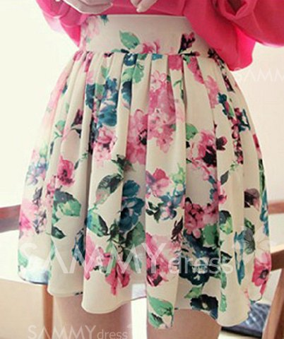 Sweet ruffled floral print chiffon skirt for women