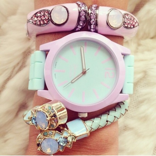 O Clock Watch Light Blue Face With Powder Pink Strap