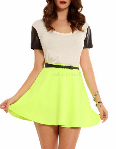 neon green skater skirt fashion struck online store. Black Bedroom Furniture Sets. Home Design Ideas