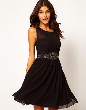 Little mistress embellished waistband dress at asos