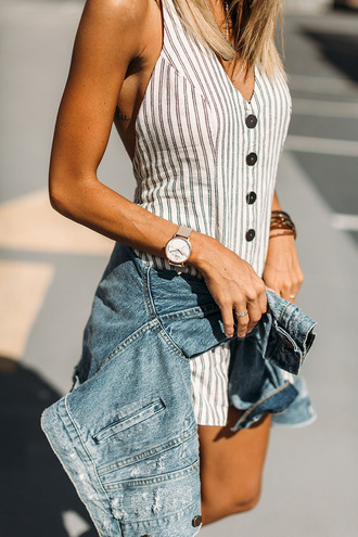 styled avenue blogger romper jacket shoes hat jewels striped romper denim jacket spring outfits summer outfits