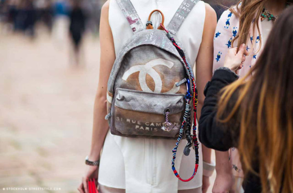 bag backpack minie backpack dress white dress bracelets chanel