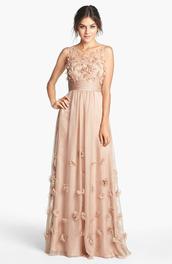 dress,tan dress long