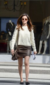 sweater,ballet flats,fall outfits,fall sweater,skirt,emmy rossum,shoes,sunglasses,white sweater,topshop,chanel