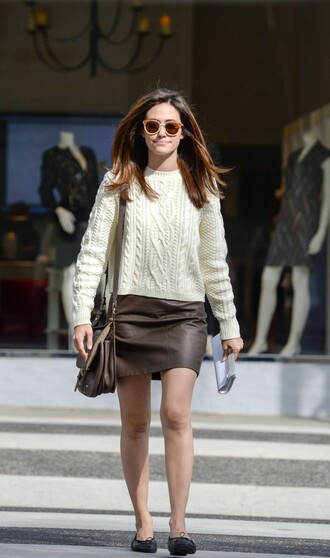sweater ballet flats fall outfits fall sweater skirt emmy rossum shoes sunglasses