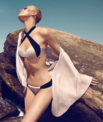 Audrey bandeau bikini light pink