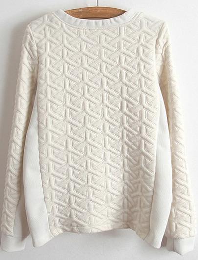 White long sleeve zipper jacquard sweatshirt