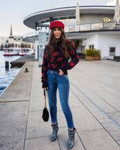 hat,red hat,silver boots,tumblr,fisherman cap,sweater,denim,jeans,blue jeans,boots,bag,black bag
