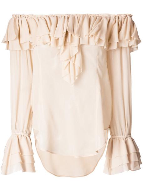 Twin-Set blouse ruffle women nude top