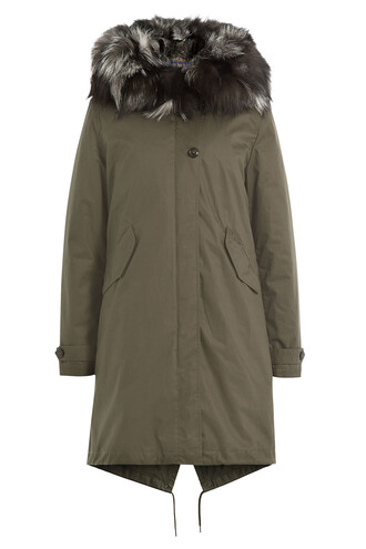 parka fur fox green coat