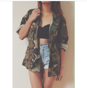 coat shorts tank top jacket military camouflage long rolled up green brown cute buttons pockets crop tops high waisted shorts denim