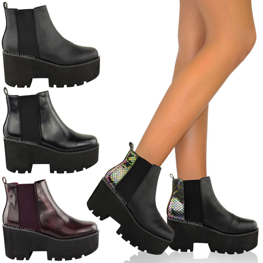 bf8c5d09e95 WOMENS LADIES CHUNKY CLEATED SOLE BLOCK HEEL PLATFORM ANKLE CHELSEA BOOTS  SHOES